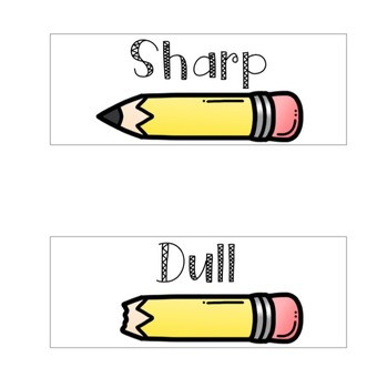 FREE Sharp and Dull Pencil Supply Labels