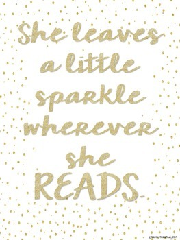 "FREE ""She leaves a little sparkle whenever she READS."" Poster"