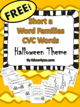 FREE - Short a Word Families - CVC Words- Halloween Theme!