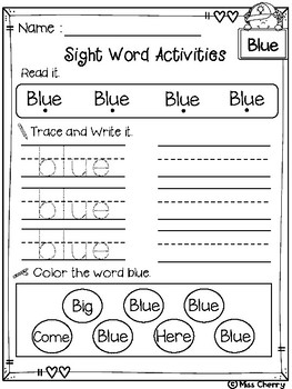 FREE Sight Word Activities Pre Primer