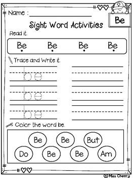 FREE Sight Word Activities Primer
