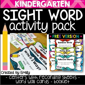 FREE Sight Words - Kindergarten Word Work