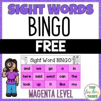 New Zealand Sight Words FREE Sight Word BINGO Magenta Level NZ