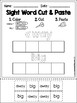 FREE Sight Word Cut and Paste Worksheets (Pre-Primer)