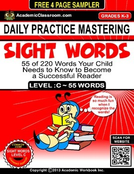 FREE Sight Word Daily Practice Worksheets Level -C {Learni
