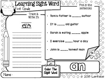 FREE Sight Word First Grade Winter Activity