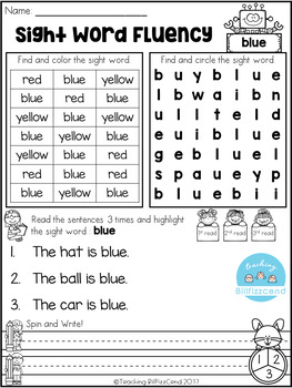 FREE Sight Word Fluency Activities