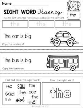 FREE Sight Word Fluency Practice - Pre Primer