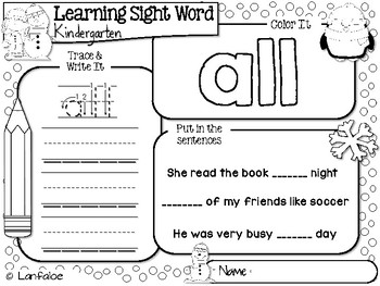FREE Sight Word Kindergarten Winter Activity
