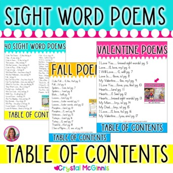 FREE Sight Word Poems Table of Contents and Word Lists -To Use With My Poem Sets