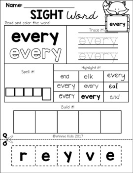 FREE Sight Word Practice Cut and Paste - 1st Grade