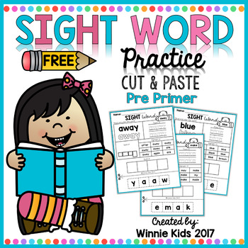 FREE Sight Word Practice Cut and Paste - Pre Primer
