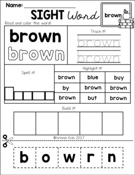 FREE Sight Word Practice Cut and Paste - Primer