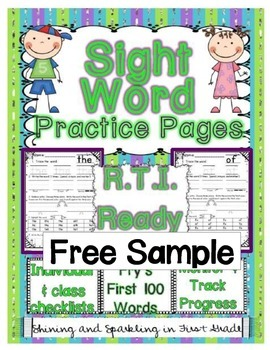 FREE Sight Word Practice Pages and RTI-NO PREP