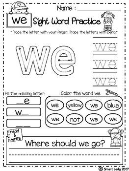 FREE Sight Word Practice Set 2 ( Pre-Primer )