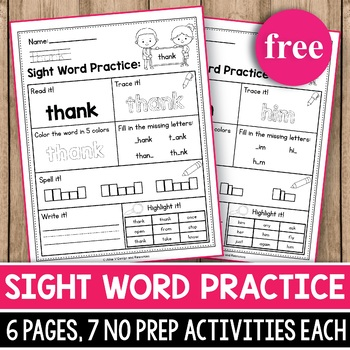 Free sight word practice worksheets teaching resources teachers free sight word practice sight word activities sciox Image collections