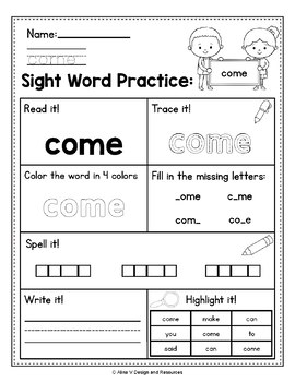 FREE Sight Word Practice - Sight Word Activities