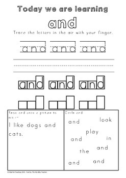 FREE Sight Word Practise Worksheet Sample 'AND'