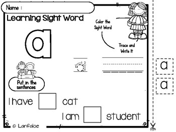 FREE Sight Word Pre Kindergarten