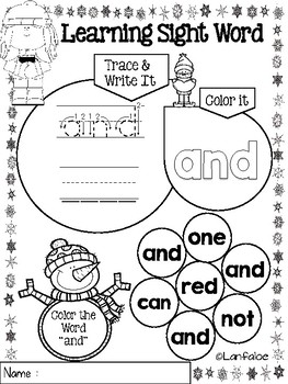 FREE Sight Word Pre Kindergarten Winter Edition