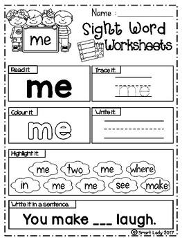 FREE Sight Word Worksheets (Pre-Primer)