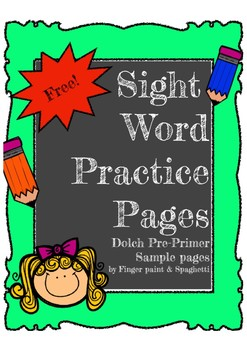 FREE Sight Word Pre-Primer Words Sample FREE