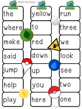 FREE Sight Word Printable Board Games (Dolch Pre-Primer & Primer)