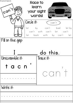 FREE High Frequency Sight Word Printables for Year One Blue Level NZ