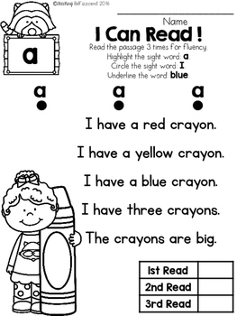 FREE Sight Word Reader and Comprehension (Set 1)