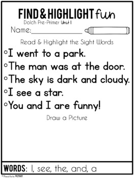Dolch Pre-Primer Sight Word Unit