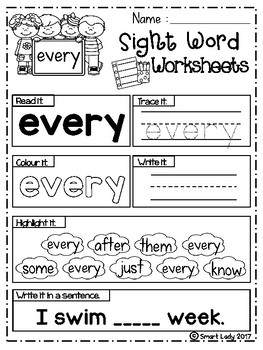 FREE Sight Word Worksheets (First Grade)