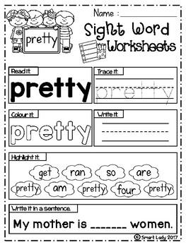 FREE Sight Word Worksheets (Primer)