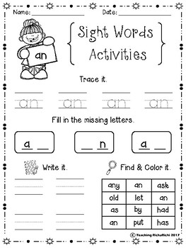 FREE Sight Words Activities Set 2 (First Grade)
