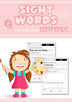 FREE - Sight Words Cut and Paste Sentences: Pre-Primer Sight Words