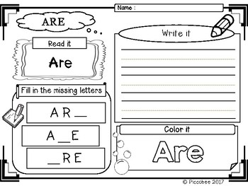 FREE Sight Words Kindergarten {Set 1}