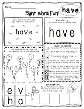 FREE Sight Words Activities Packet