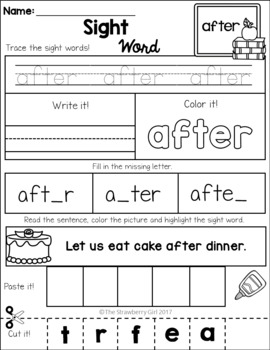 FREE Sight Word Practice - 1St Grade