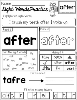 FREE Sight Word Practice (1st Grade)