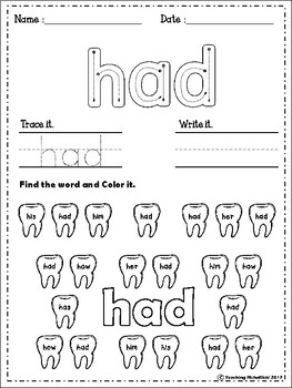 FREE Sight Words Worksheets (First Grade) by Teaching ...