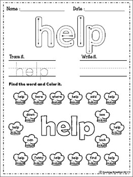 FREE Sight Words Worksheets (Pre-Primer)
