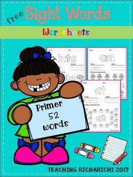 FREE Sight Words Worksheets (Primer)