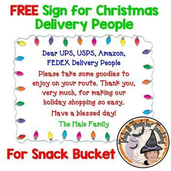 FREE Sign for Christmas Holiday Delivery People Snack Bucket Fully Editable