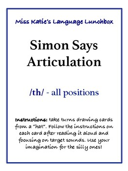FREE Simon Says Articulation- /th/