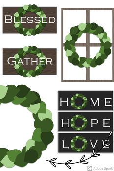 FREE Simple Farmhouse Style Wreaths and Signs Clipart