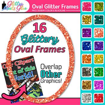 Oval Border Clip Art {Rainbow Glitter Frames for Worksheet
