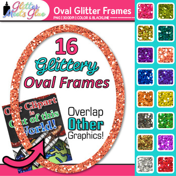 Oval Border Clip Art {Rainbow Glitter Frames for Worksheets and Task Cards}