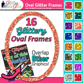 Oval Border Clip Art | Rainbow Glitter Frames for Worksheets and Task Cards