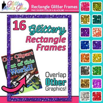 Rectangle Frame Clip Art | Rainbow Glitter Page Borders for Worksheets
