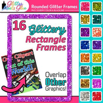 Rounded Rectangle Border Clip Art {Rainbow Glitter Frames