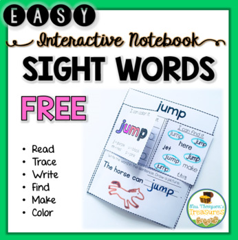 FREE Simple Sight Words Interactive Notebook Sample